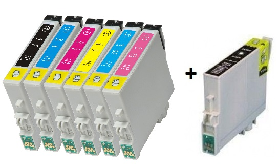Compatible Epson T0481/T0482/T0483/T0484/T0485/T0486 Cartridges Full Set + EXTRA BLACK