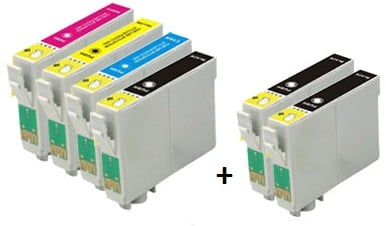 Compatible Epson T0711/T0712/T0713/T0714 Cartridges Full Set + 2 EXTRA BLACK