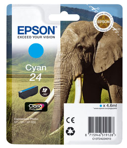 Epson Original T2422 Cyan Ink Cartridge (24 Series)