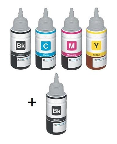 Epson Compatible T6641/T6642/T6643/T6644 Full set of Bottles  + EXTRA BLACK (2 x Black, 1 x Cyan/Magenta/Yellow)