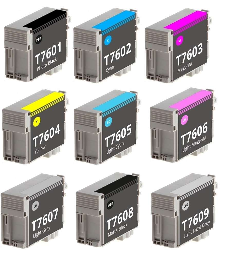 Compatible Epson Full Set Of 9 Ink Cartridges T7601/2/3/4/5/6/7/8/9 (Photo Black/Cyan/Magenta/Yellow/Light Cyan/Light Magenta/Light Black/Matt Black/Light Light Black)