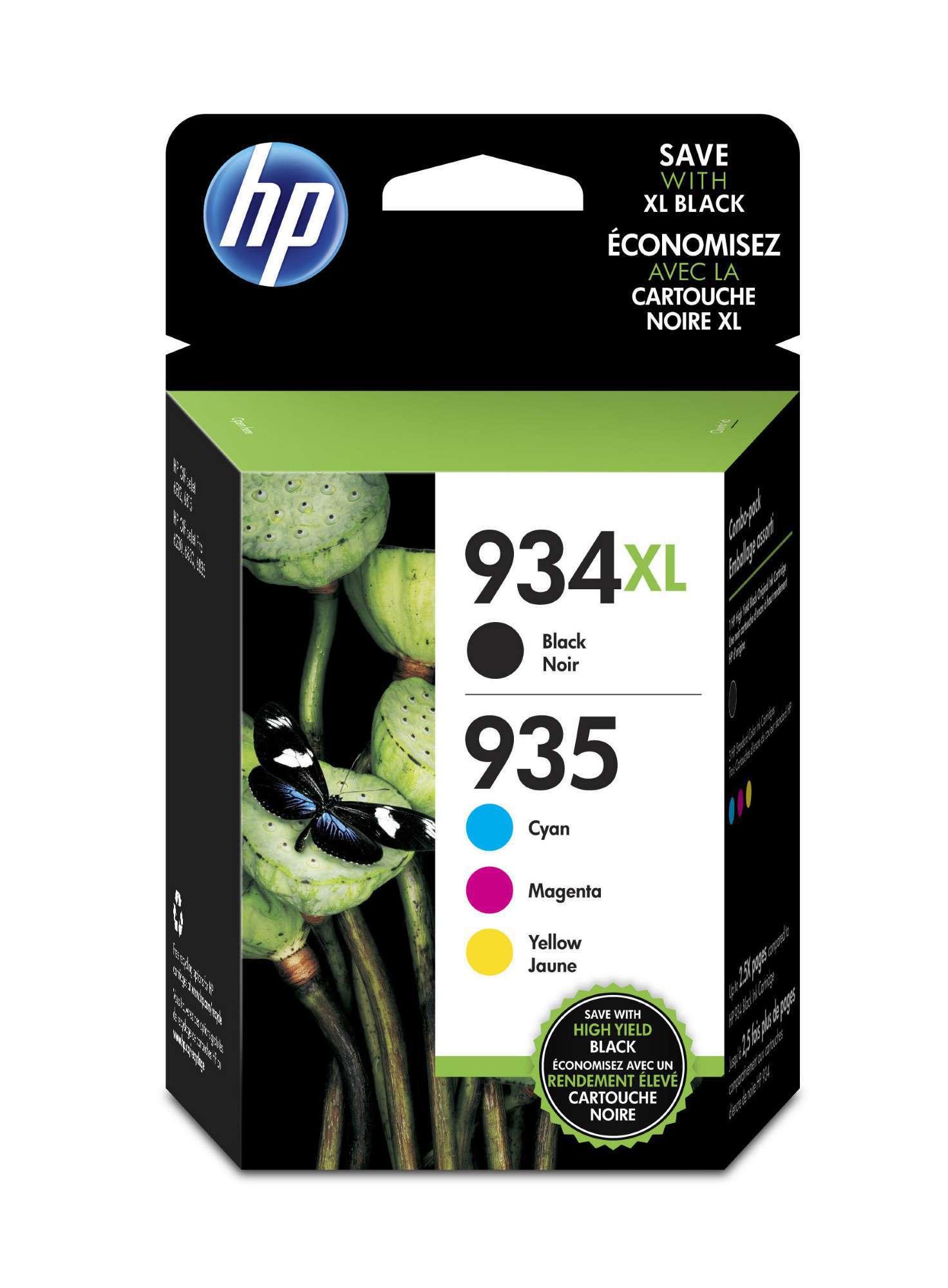 HP Original 934XL/935XL Combo Pack of 4 Ink Cartridges - Black/Cyan/Magenta/Yellow