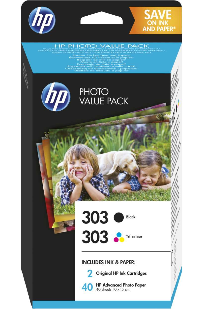 Original HP 303 Black & Colour Inkjet Cartridge Multipack With Photo Paper (Z4B62EE)