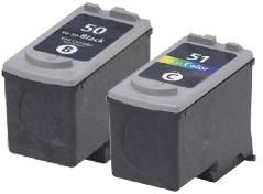 Canon PG-50 and CL-51 Black and Colour Remanufactured High Capacity Ink Cartridges