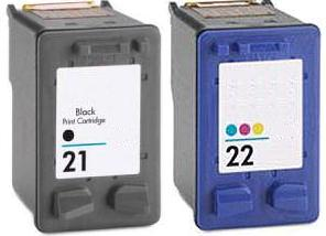 Remanufactured HP 21 (C9351AE) High Capacity Black and HP 22 (C9352AE) High Capacity Colour Ink Cartridges