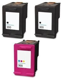 2 x Remanufactured HP 300 Black (CC640EE) & 1 x 300 Colour (CC643EE) High Capacity Ink Cartridges
