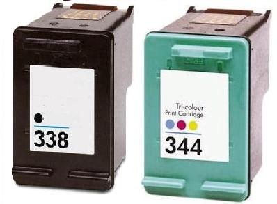 Remanufactured HP 338 (C8765EE) High Capacity Black and HP 344 (C9363EE) High Capacity Colour Ink Cartridges