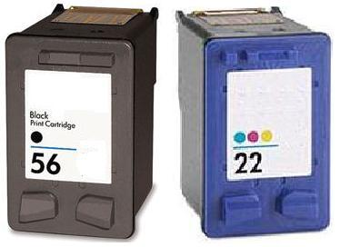 Remanufactured HP 56 (C6656AE) High Capacity Black and HP 22 (C9352AE) High Capacity Colour Ink Cartridge
