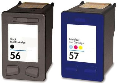Remanufactured HP 56 (C6656AE) High Capacity Black and HP 57 (C6657Ae) High Capacity Colour Ink Cartridges