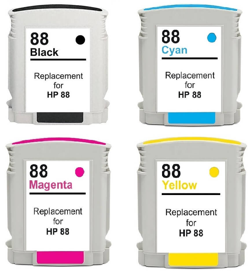 Compatible HP 88XL High Capacity Full Set Of 4 Ink Cartridges (Black/Cyan/Magenta/Yellow)