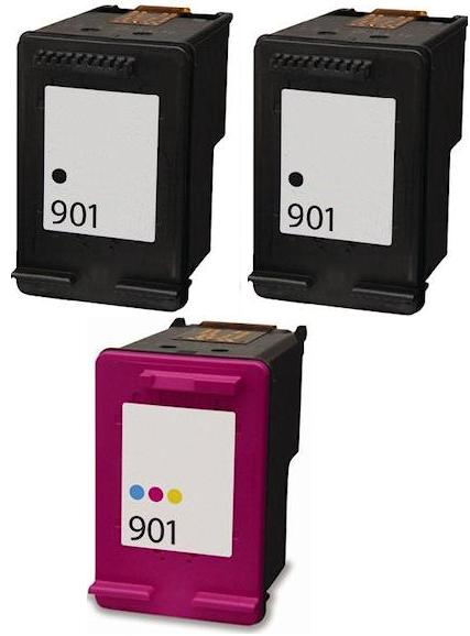 2 x Remanufactured HP 901 Black (CC653aa) & 1 x 901 Colour (CC656aa) High Capacity Ink Cartridges