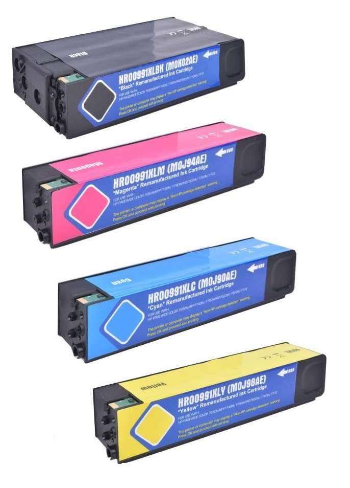 Compatible HP 991X Full Set Of 4 High Capacity Ink Cartridges