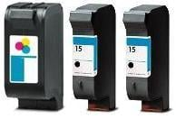 Remanufactured HP 23 (C1823D) High Capacity Colour 38ml and 2 x Remanufactured HP 15 (C6615DN) High Capacity Black 25ml Ink Cartridges