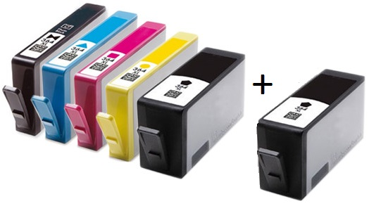 Compatible HP 364XL Full set of 5 Ink Cartridges + EXTRA BLACK