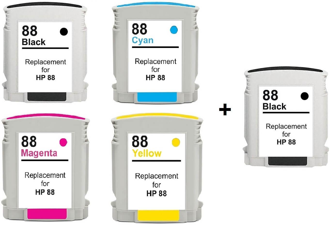 Compatible HP 88XL Full Set Of 4 Ink Cartridges + EXTRA BLACK (2 x Black 1 x /Cyan/Magenta/Yellow)