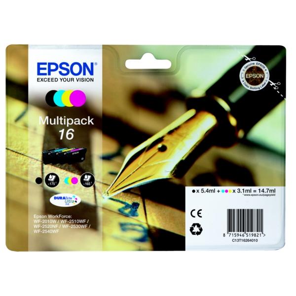 Epson Original T1626 (Series 16) Pack Of 4 (Black,Cyan,Magenta,Yellow)